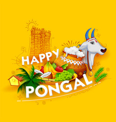 Happy pongal holiday harvest festival of tamil vector