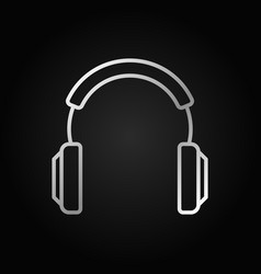 Headphones silver modern icon in thin line vector