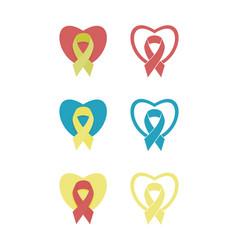 Heart ribbon logo vector