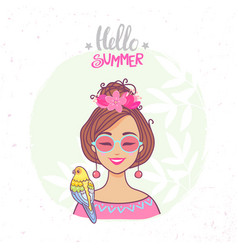 hello summer color vector image