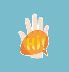 hi sticker social media network message badges vector image