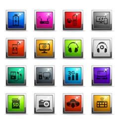 hi tech icon set vector image
