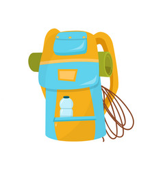 hiking backpack with rope camping mat and bottle vector image