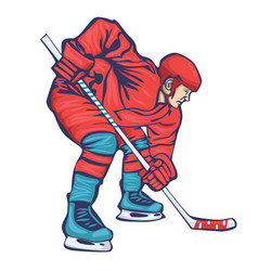 hockey player with stick isolated on a white vector image