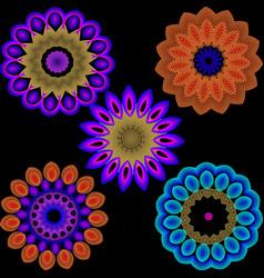 Illuminated colorful flowers pattern set neon vector