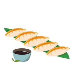 Japanese food dumplings colorful gedza asian meal vector