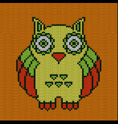 Knitting big amusing owl vector