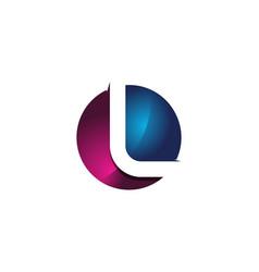 l 3d colorful circle letter logo icon design vector image