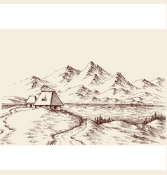Lake in mountains landscape sketch vector
