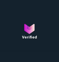 Letter v pink colour verified aesthetic logo vector