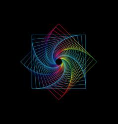 line drawing colorful mandala sacred geometry vector image