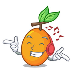listening music ripe yellow plums on the tree vector image