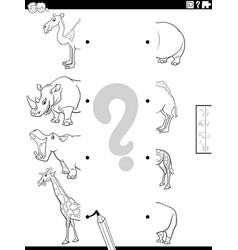 Match halves safari animals pictures coloring vector