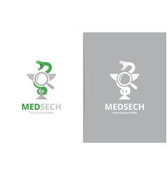 Medicine and loupe logo combination vector