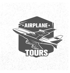 Monochrome airplane tours logotype vector