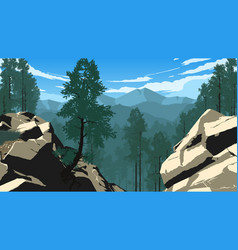 Mountain forest landscape vector