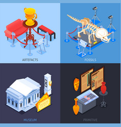 museum isometric design concept vector image