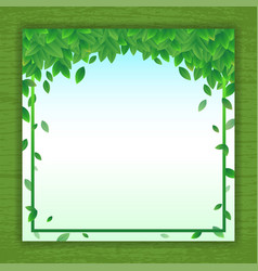 nature background banner with green leaf frame vector image