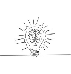 one continuous line drawing shining lightbulb vector image
