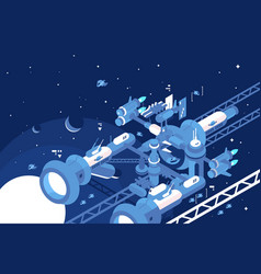 Orbital stations orbiting moon vector