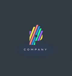 P letter logo with colorful lines design rainbow vector