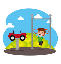 park with kid zone scene with boy vector image