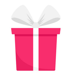 pink gift box icon flat style vector image