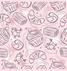 Pink seamless patterns with cupcake croissant vector