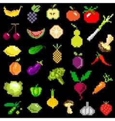 Pixel-art fruit and vegetables on black vector