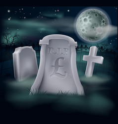 Pound sterling grave concept vector