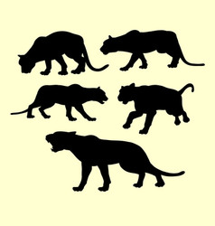 Puma panther and tiger animal silhouette vector