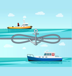 Sea transport color banner vector
