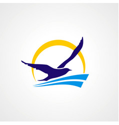 Seagul fly travel beach logo vector