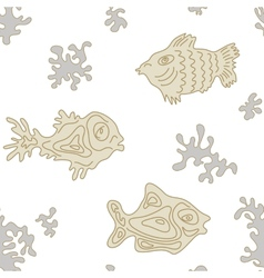 Seamless Marine Pattern with fish vector image