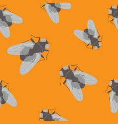 Seamless pattern with flies on orange background vector