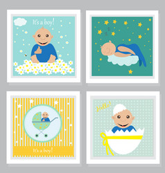 set of baby shower invitation greeting cards vector image