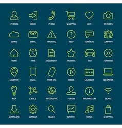 Set of basic green outline icons for print or web vector
