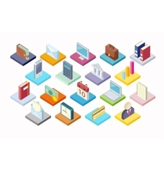 Set of Business Icon Isometry 3d Design vector