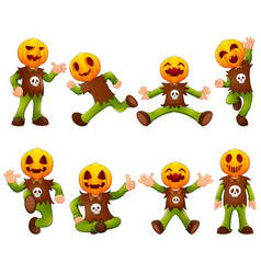 set of kid wearing pumpkin mask vector image