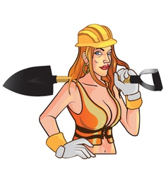 Sexy Construction Worker Mascot vector image