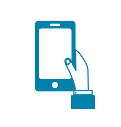 silhouette smartphone technology communication in vector image