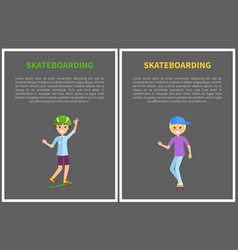 Skateboarding poster with smiling skater headgear vector