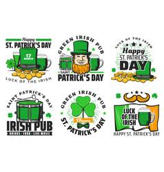 st patrick day party beer bar irish holiday icons vector image