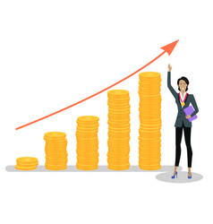 Successful businesswoman and growing investments vector