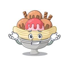 Super funny grinning banana split mascot cartoon vector