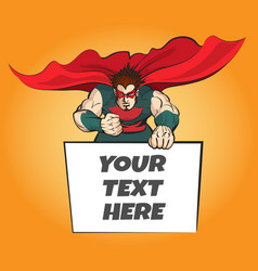 Superhero with message board vector