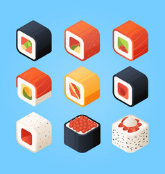 Sushi isometric various rolls and other vector