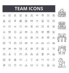 team line icons signs set outline vector image