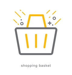 Thin line icons shopping basket vector