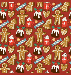 traditional christmas food seamless pattern vector image